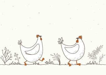 Card with isolated cartoon chickens