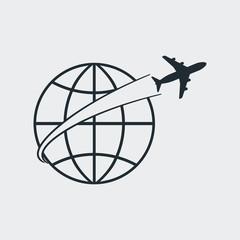 Icono plano avion alrededor del mundo en fondo gris