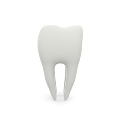 Model of a molar tooth on a white isolated background