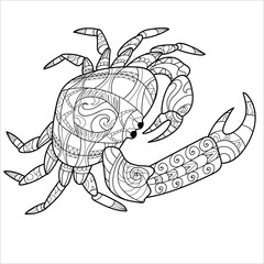 Crab, illustration for coloring, coloring page