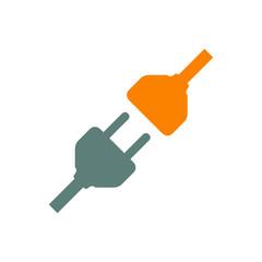 Icono plano conexion electrica en gris y naranja