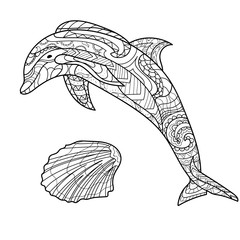 Dolphin and seashell illustration for coloring, coloring page