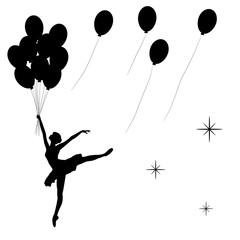 Силуэт танцующей балерины с воздушными шарами в черном цвете. Векторная Иллюстрацияю