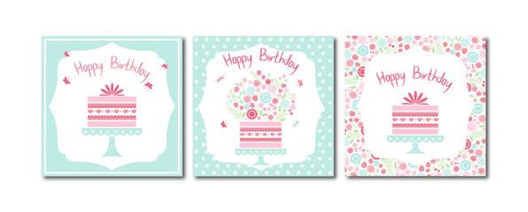 Набор из 3 векторных иллюстраций. Набор из трех милых готовых к использованию поздравительных открыток, баннеров, плакатов, наклеек и других вещей дня рождения.