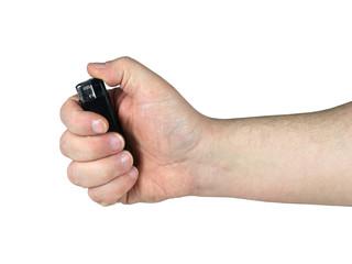 dłoń z zapalniczką