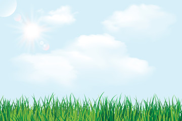 Green grass under blue sky and clouds vector illustration