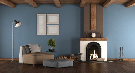 Blue and brown room with fireplace