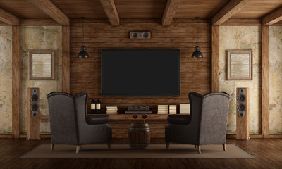 Home cinema in rustic style