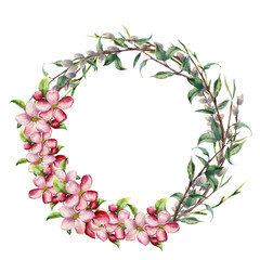Watercolor spring wreath with apple flowers. Hand painted border with willow, tree branch with leaves isolated on white background. Easter floral illustration for design, print or background.