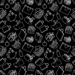 Seamless background of theme of a shopping