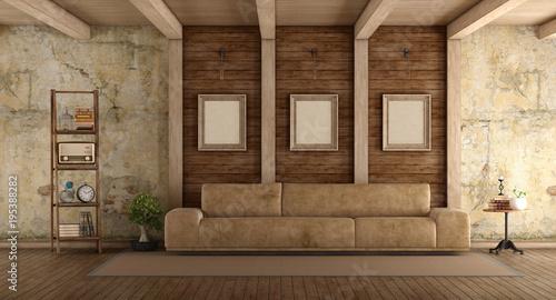 Retro living room with sofa\