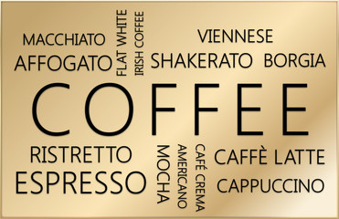 COFFEE types. Word cloud concept on gold background