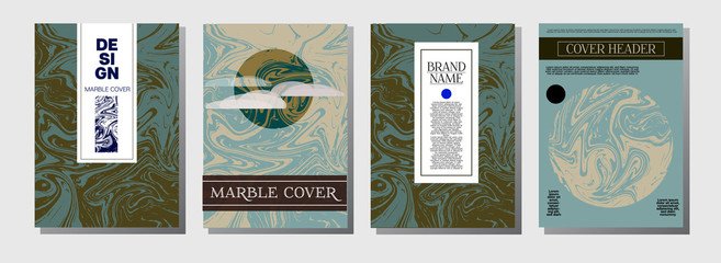 Artistic Covers Set. Marble Texture Background. Trendy Oil Paint Blue, Green, Yellow, Purple, Orange, Red Business Templates. Artistic Cover, Rich Noble Ebru Invitation Design, Marble Texture.