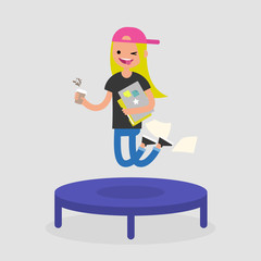 Career promotion. Cheerful female employee jumping on the trampoline. Business concept. Modern young adults. Success. Flat editable vector illustration, clip art