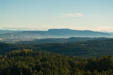 View from the top of Grakallen peak in Bymarka, Trondheim.