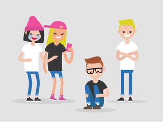 Social intolerance. Mockery. Bullying. A group of young people mocking a nerdy guy. Hate concept. Flat editable vector illustration, clip art