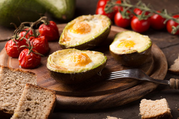 baled avocado with egg