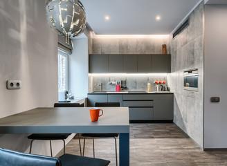 Modern grey studio apartment interior
