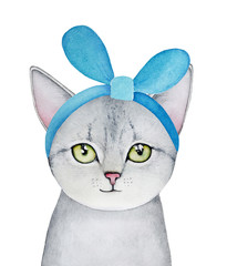 Grey kitten portrait with green eyes and turquoise colour cloth headband, looking at camera. Hand drawn water color graphic picture on white backgroung, cutout. Beautiful, cozy, colorful, small one.