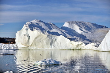 Greenland. Giant icebergs near the village of Ilulissat