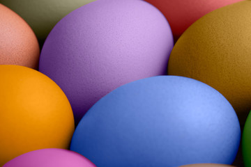 Close up view of colorful Easter eggs