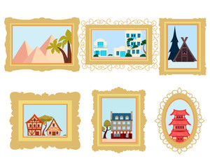 Set of pictures from different countries. China, France and Egypt. Vector illustration
