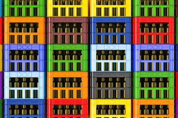 Background from colored plastic crates full of beer bottles, 3d rendering