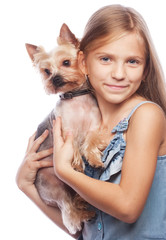 Beautiful  blond girl with cute yorkshire terrier dog, isolated