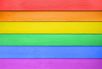 LGBT flag colored wooden board
