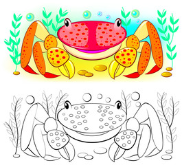 Colorful and black and white pattern for coloring. Illustration of cute crab. Worksheet for children and adults. Vector image.