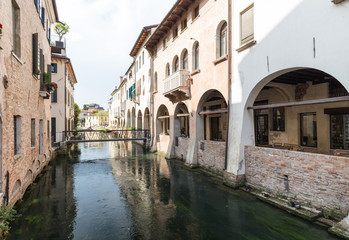 Treviso / Waterfront view of the historical architecture and river canal