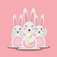 Cute rabbits and easter egg over pink background, colorful design. vector illustration