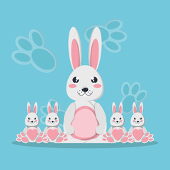 Cute rabbit mom and babies icon over blue background, colorful design. vector illustration