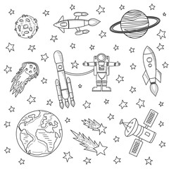 Stars and meteorites, space ships and astronaut, satellites on a white background. Sketch of the drawing, colorless. Vector illustration. Template on the theme of space