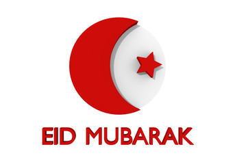 Card to Eid Mubarak with text, crescent moon and star in red. 3d rendering