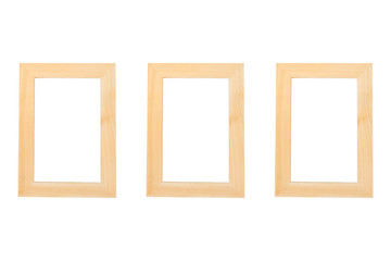 Blank wooden frames on the white background