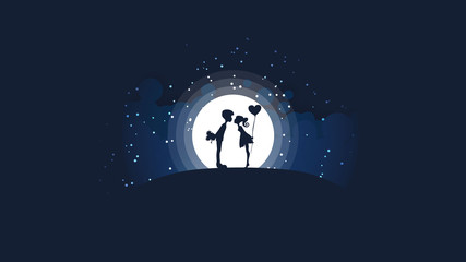 A couple of girls and guys kissing on the hill in front of a big bright moon and stars.