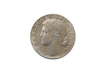 Italian out of circulation coin. 1 vintage lira dated 1948. Uncirculated collectible isolated on white background.