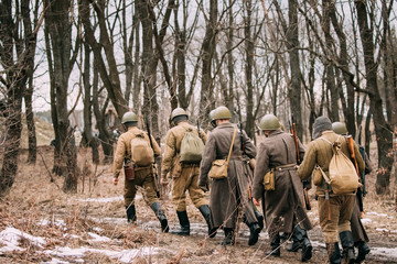 Re-enactors Dressed As Soviet Russian Red Army Infantry Soldiers