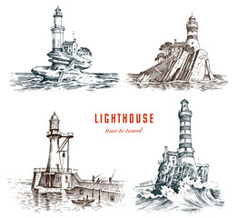 Lighthouse and sea. Marine sketch, nautical journey and seascape. Lighting in the ocean. engraved vintage, hand drawn, atlantic tidal wave. Navigation for ships and yachts.