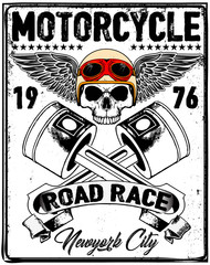 Motorcycle Racing Typography Graphics and Poster. Skull and Old school bike. T-shirt Design, vector illustration