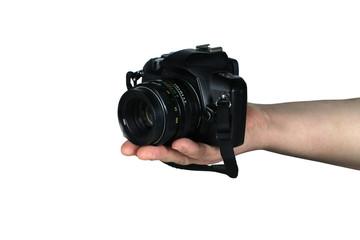 cyfrowy aparat fotograficzny w dłoniach