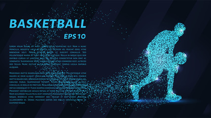 Basketball of the particles. Basketball player silhouette consists of circles and points. Vector illustration