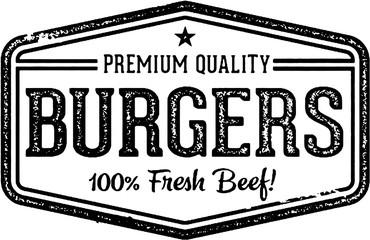 Vintage Burgers Restaurant Menu Stamp