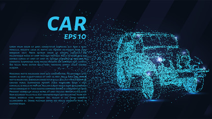 The car consists of dots and circles. Car the wind blows away particles. Vector illustration