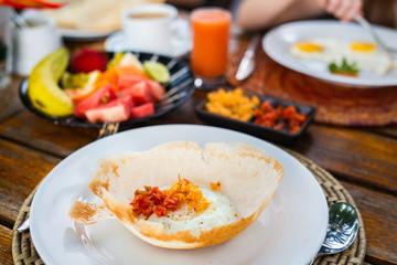 Egg hopper Sri Lankan breakfast