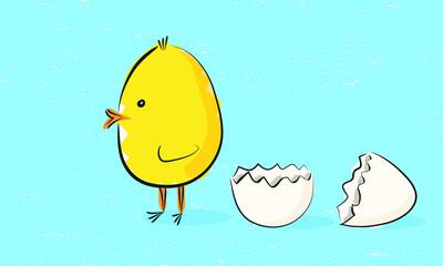 Easter chick and hatched egg illustration on blue background