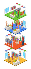 Isometric 3D vector illustration concept shopping in clothes store