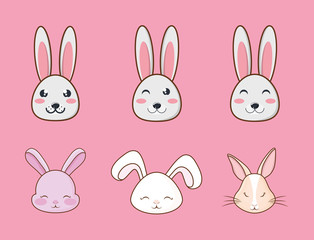 Icon set of cute rabbits over pink background, colorful design vector illustration