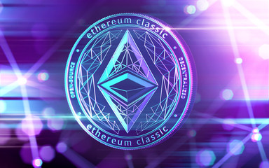 Neon glowing Ethereum Classic (ETC) coin in Ultra Violet colors with cryptocurrency blockchain nodes in blurry background. 3D rendering